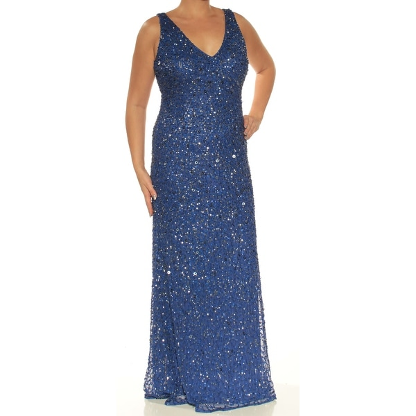 ADRIANNA PAPELL Womens Blue Sequined Low Back Sleeveless V Neck Full-Length Sheath Evening Dress Size: 12
