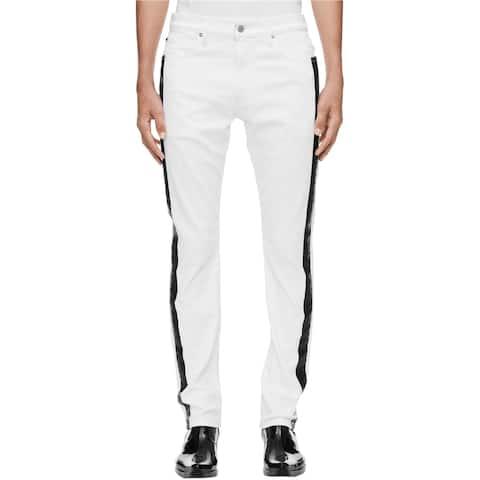 Calvin Klein Mens Side Stripe Slim Fit Jeans, White, 36W x 32L - 36W x 32L