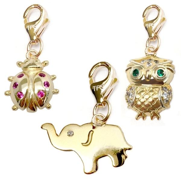 Julieta Jewelry Elephant, Lady Bug, Owl 14k Gold Over Sterling Silver Clip-On Charm Set