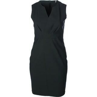 Elie Tahari Womens Vernon Pleated Sleeveless Wear to Work Dress
