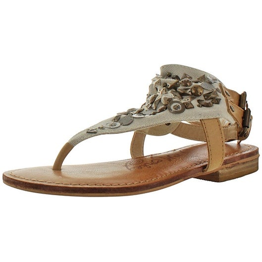Naughty Monkey Women's Of Coarse Canvas Ankle Cuff Sandals