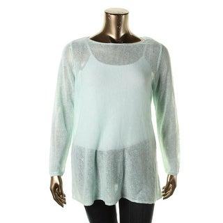 Eileen Fisher Womens Plus Linen Long Sleeves Sweater