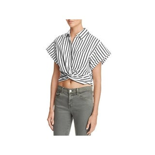 T by Alexander Wang Womens Crop Top Striped Twist Front