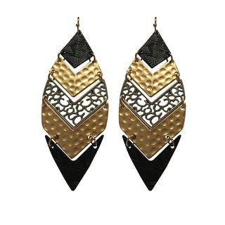 max & MO Tri-Tone Matte Feather Shape Earring - gold, silver and black