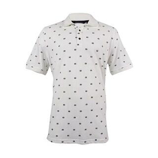 Sean John Men's Geometric Print Polo (XL, Bright White) - Bright White - XL