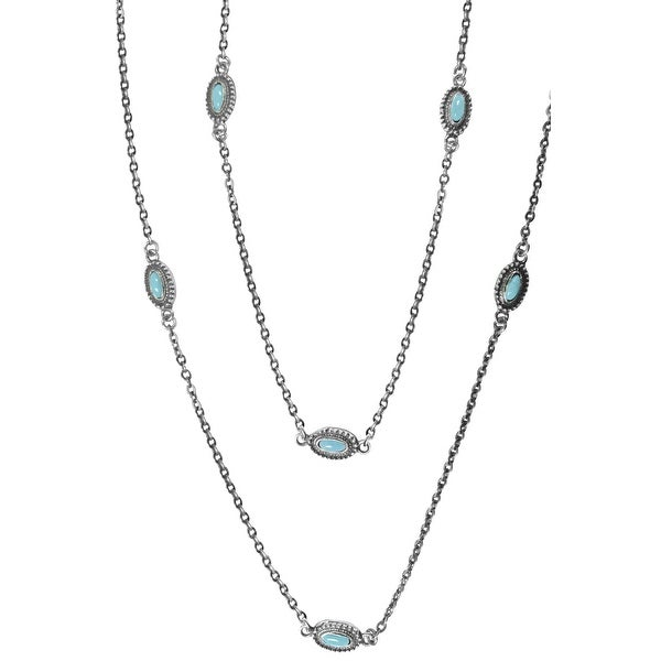 """LoulaBelle Western Jewelry Womens Necklace Strands 36"""" Silver LN8216TQ - silver turquoise"""