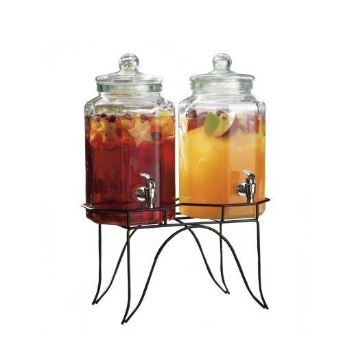 Palais Glassware High Quality Clear Glass Duplex Beverage Dispenser - 1 Gallon Each Jug, with Glass Lids and Metal Stand