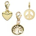 Julieta Jewelry Tree Of Life, Heart, Peace Sign 14k Gold Over Sterling Silver Clip-On Charm Set - Thumbnail 0