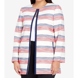 Tahari by ASL NEW White Womens Size 14W Plus Striped Hook + Eye Jacket