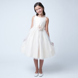 Sweet Kids Girls Champagne Bows Satin Tulle Occasion Easter Dress 7-12