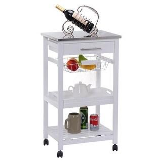 Costway Rolling Kitchen Trolley Cart Steel Top Removable Tray W/Storage  Basket U0026Drawers