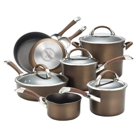 Circulon 82765 Symmetry Hard Anodized Nonstick 11-Piece Cookware Set in Chocolate