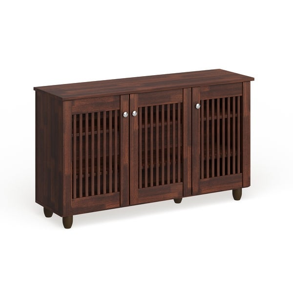 Copper Grove Angelina Dark Brown 3-door Shoe Cabinet. Opens flyout.