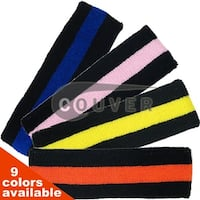 Black Striped COUVER Signature Head Sweatbands for Sports 6 Mixed Pieces