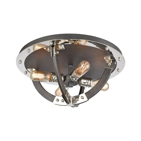 Riveted Plate 4-Light Flush Mount in Silverdust Iron