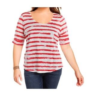 Lauren Ralph Lauren Womens Casual Top Linen Striped