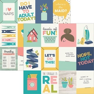 "Domestic Bliss Double-Sided Elements Cardstock 12""X12""-3""X4"" Journaling Cards"