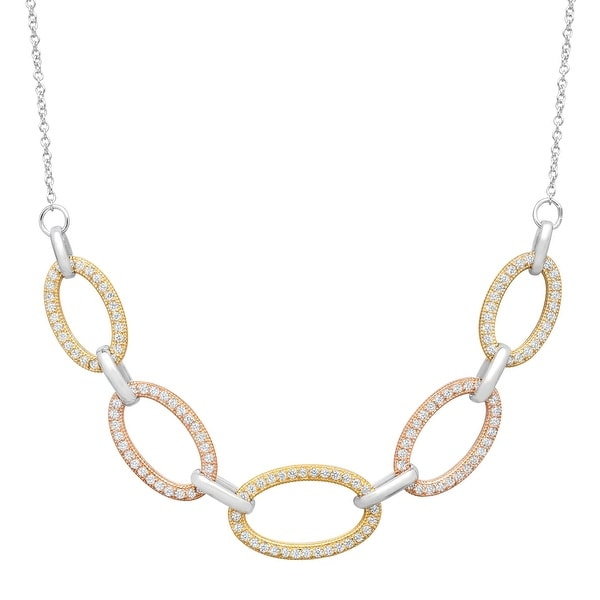 Cable Link Necklace with Cubic Zirconia in 14K Rose & Yellow Gold-Plated Sterling Silver