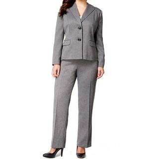Le Suit NEW Gray Women 16W Plus Two-Button Herringbone Pant Suit Set