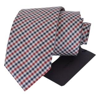 Prada Men's Silk Cravatta Microquadretto Amarena UCR77 Neck Tie - 2.75