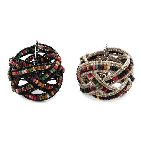 Jewelry For Women Set of 2 Cuff Bangle Beaded Bracelet For Gift