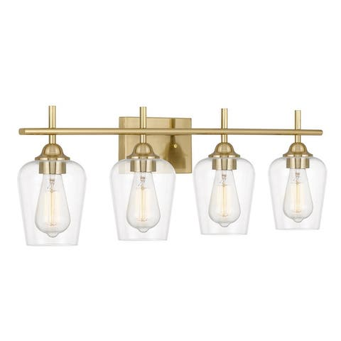 "Bacchus 4-Light Plated Satin Brass Vanity Light 6.75"" x28.75""x 9.75"" - Standard Size"