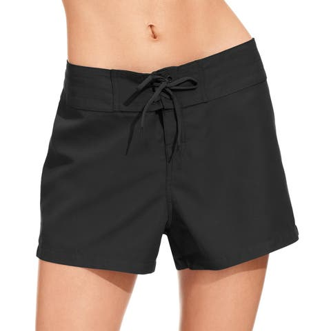Island Escape Womens Swimsuit Tie-Front Board Shorts, Black, 6