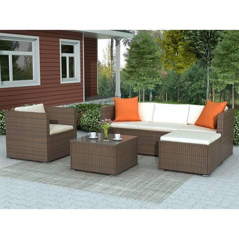 Rattan Patio Furniture Set Wicker Sofa Cushioned Sectional Furniture Set Garden Patio Sofa Set