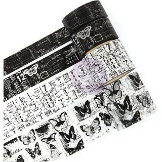 Prima Traveler's Journal Vintage Decorative Tape 4/Pkg-Black & White 15Mm To 40Mm, 10Yds Ea