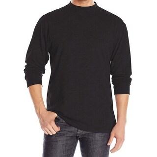 Pendleton NEW Black Mens Size Large L Mock Neck Ribbed Cuff Tee T-Shirt