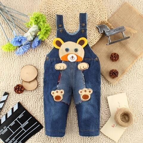 Baby Boy Pants Thick Cotton Denim Overalls Children Winter New Models