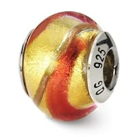 Italian Sterling Silver Reflections Yellowith Gold/Orange Bead (4mm Diameter Hole)