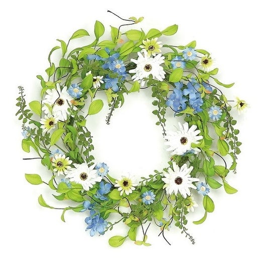 "22"" Decorative Blue and White Hydrangea and Wild Daisy Artificial Floral Wreath - Unlit"