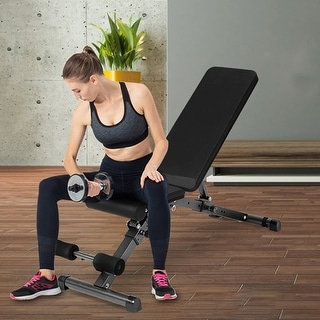 Link to Adjustable Folding Weight Bench Strength Training Bench for Full Body Workout with Resistance Bands Similar Items in Fitness & Exercise Equipment