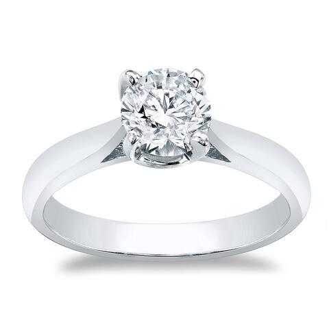 Auriya 14k Gold Round Moissanite Solitaire Engagement Ring 1ctw