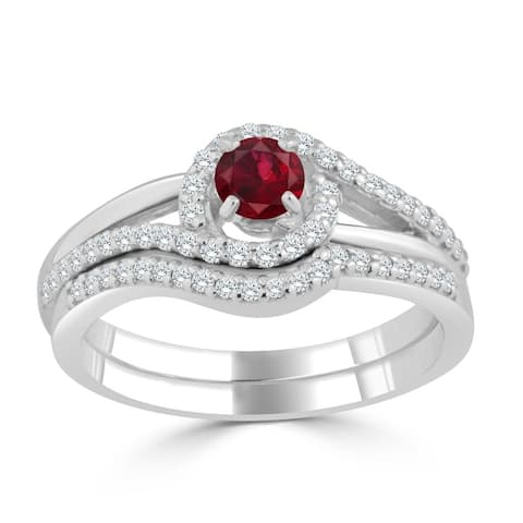 Auriya 1/5ct Red Ruby and Diamond Engagement Ring Set 1/3ctw 14k Gold