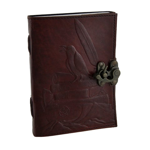 Raven's Perch 5x7 In. Embossed Leather Bound Journal w/240 Unlined Pages - brown