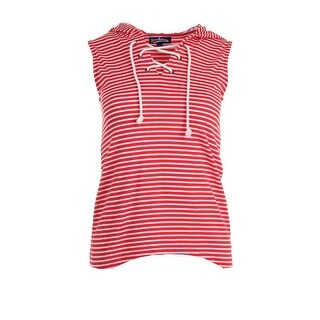 Freshman Womens Juniors Athleisure Hooded Striped Tank Top