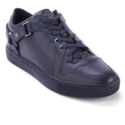 Versace Collection Men's Leather Low Top Medusa Sneaker Shoes Navy Blue