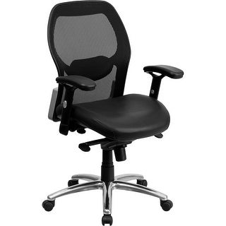 Offex Mid Back Super Mesh Office Chair With Black Leather Seat And Knee  Tilt Control