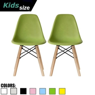 2xhome Set of Two Kids Chair Side No arm Armless Natural Wood Legs Eiffel For Kitchen Desk Work Bedroom Playroom Preschool