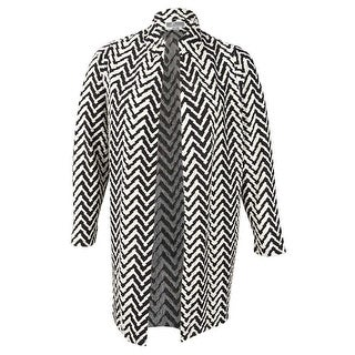 JM Collection Women's Plus Size Chevron Open-Front Jacket (1X, Chevron Peaks) - chevron peaks