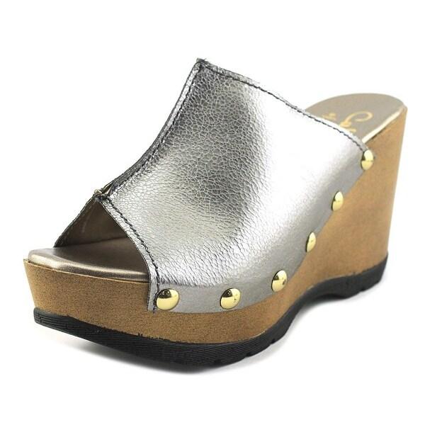 Callisto Redmond Women Open Toe Suede Gray Wedge Sandal