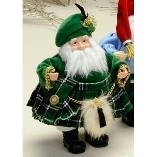 "International Christmas Irish Santa Claus Figure in Green Kilt & Sporran 8"""