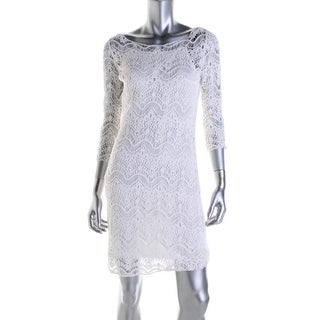 Lauren Ralph Lauren Womens Crochet Bateau Neck Party Dress