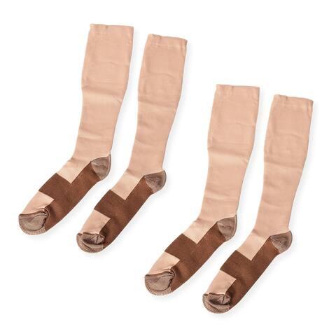 Shop LC Beige Copper Nylon Spandex Set of 2 Pairs Socks Size L/XL