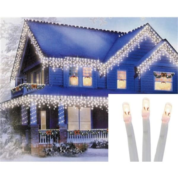 Set of 96 Twinkling Warm White LED Christmas Icicle Lights - Connect 24V Extension Set - White Wire - CLEAR