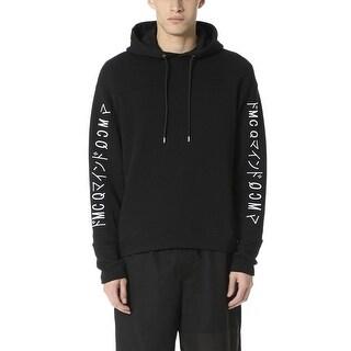 McQ Alexander McQueen Men's Embroidered Logo Hoodie Sweatshirt Medium M Black