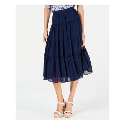 MICHAEL KORS Womens Navy Tiered Midi Skirt Size XXL