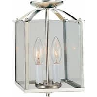 "Volume Lighting V5002 2 Light Foyer 11.75"" Height Pendant with Clear Glass Squar"